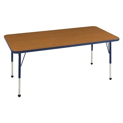 ECR4Kids Thermo-Fused Adjustable Ball 72 x 30 Rectangle Laminate Activity Table Oak/Navy (ELR-14212-OKNVNVTB)