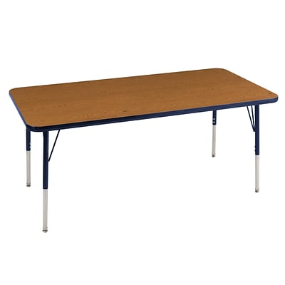 ECR4Kids Thermo-Fused Adjustable Swivel 72 x 30 Rectangle Laminate Activity Table Oak/Navy (ELR-14212-OKNVNVTS)