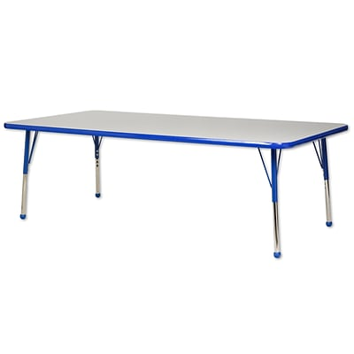 ECR4Kids Thermo-Fused Adjustable Ball 72 x 36 Rectangle Laminate Activity Table Grey/Blue (ELR-14213-GYBLBLTB)