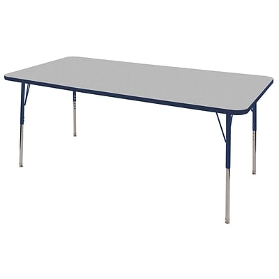 ECR4Kids Thermo-Fused Adjustable Swivel 72 x 36 Rectangle Laminate Activity Table Grey/Navy (ELR-14213-GYNVNVTS)