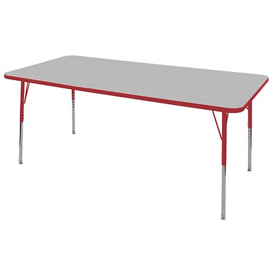 ECR4Kids Thermo-Fused Adjustable Swivel 72 x 36 Rectangle Laminate Activity Table Grey/Red (ELR-14213-GYRDRDTS)