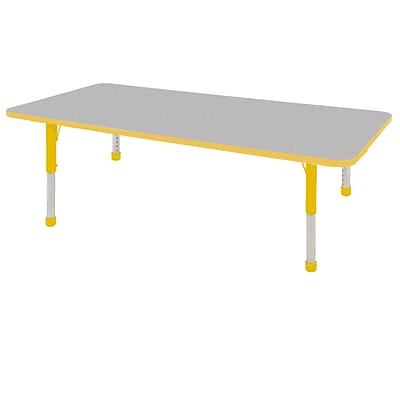 ECR4Kids Thermo-Fused Adjustable 72 x 36 Rectangle Laminate Activity Table Grey/Yellow (ELR-14213-GYYEYECH)