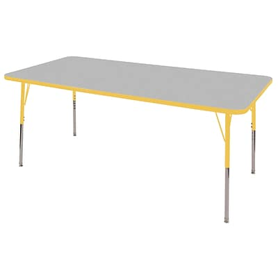 ECR4Kids Thermo-Fused Adjustable Swivel 72 x 36 Rectangle Laminate Activity Table Grey/Yellow (ELR-14213-GYYEYESS)