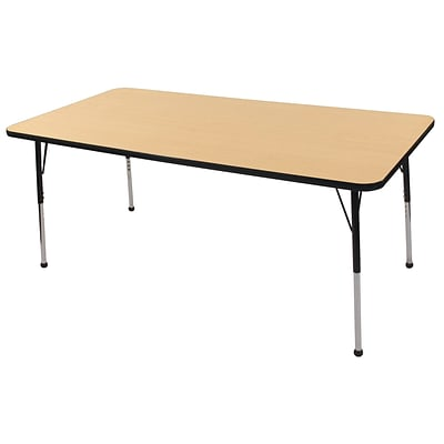 ECR4Kids Thermo-Fused Adjustable Ball 72 x 36 Rectangle Laminate Activity Table Maple/Black (ELR-14213-MPBKBKSB)