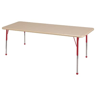 ECR4Kids Thermo-Fused Adjustable Ball 72 x 36 Rectangle Laminate Activity Table Maple/Maple/Red (ELR-14213-MPMPRDTB)