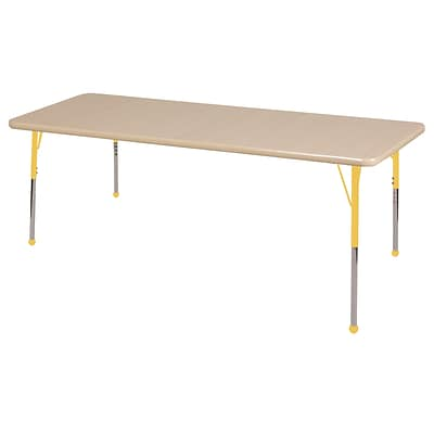 ECR4Kids Thermo-Fused Adjustable Ball 72 x 36 Rectangle Laminate Activity Table Maple/Maple/Yellow (ELR-14213-MPMPYETB)