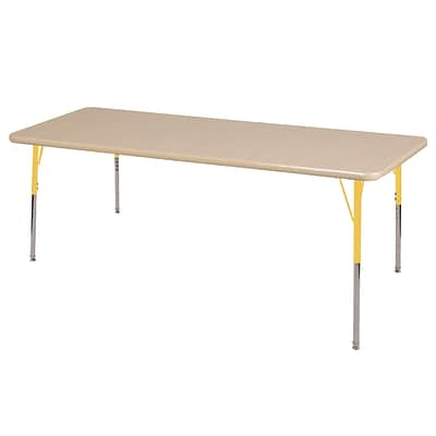 ECR4Kids Thermo-Fused Adjustable Swivel 72 x 36 Rectangle Laminate Activity Table Maple/Maple/Yellow (ELR-14213-MPMPYESS)