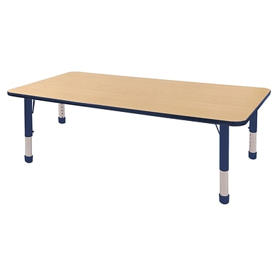 ECR4Kids Thermo-Fused Adjustable 72 x 36 Rectangle Laminate Activity Table Maple/Navy (ELR-14213-MPNVNVCH)