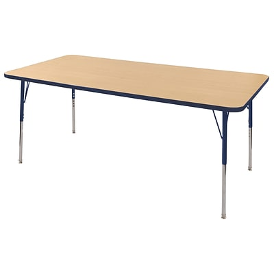 ECR4Kids Thermo-Fused Adjustable Swivel 72 x 36 Rectangle Laminate Activity Table Maple/Navy (ELR-14213-MPNVNVTS)
