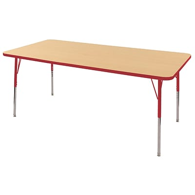 ECR4Kids Thermo-Fused Adjustable Swivel 72 x 36 Rectangle Laminate Activity Table Maple/Red (ELR-14213-MPRDRDTS)