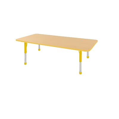 ECR4Kids Thermo-Fused Adjustable 72 x 36 Rectangle Laminate Activity Table Maple/Yellow (ELR-14213-MPYEYECH)