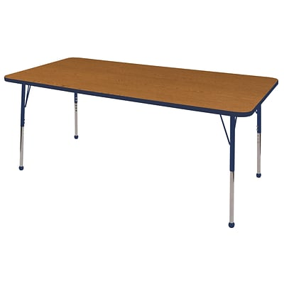 ECR4Kids Thermo-Fused Adjustable Ball 72 x 36 Rectangle Laminate Activity Table Oak/Navy (ELR-14213-OKNVNVSB)