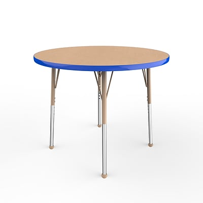 ECR4Kids T-Mold Adjustable Ball 36 Round Laminate Activity Table Maple/Blue/Sand (ELR-14114-MBLSD-SB)