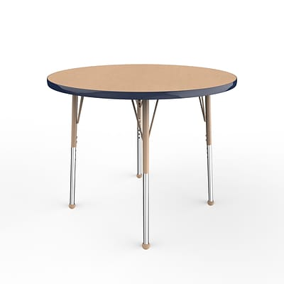 ECR4Kids T-Mold Adjustable Ball 36 Round Laminate Activity Table Maple/Navy/Sand (ELR-14114-MNVSD-SB)