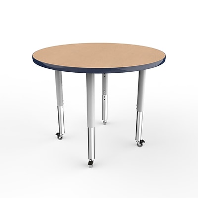 ECR4Kids T-Mold Adjustable Leg 36 Round Laminate Activity Table Maple/Navy/Silver (ELR-14114-MNVSV-SL)
