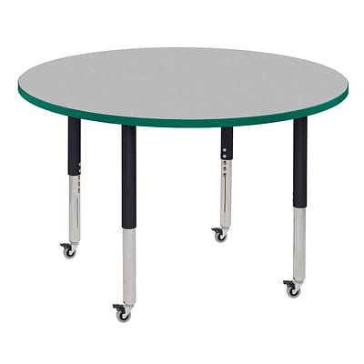 ECR4Kids Thermo-Fused Adjustable Leg 48 Round Laminate Activity Table Grey/Green/Black (ELR-14215-GYGNBKSL)