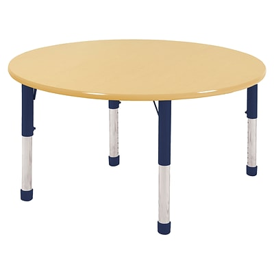 ECR4Kids Thermo-Fused Adjustable 48 Round Laminate Activity Table Maple/Maple/Navy (ELR-14215-MPMPNVCH)