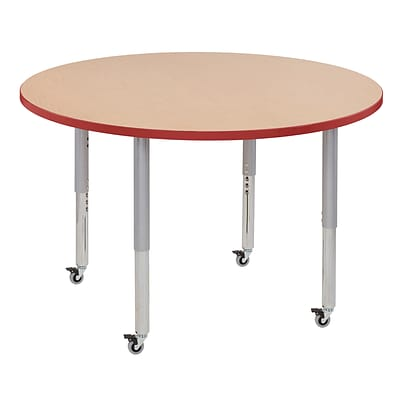 ECR4Kids T-Mold Adjustable Leg 48 Round Laminate Activity Table Maple/Red/Silver (ELR-14115-MRDSV-SL)