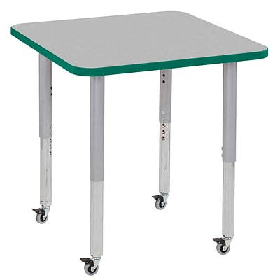 ECR4Kids Thermo-Fused Adjustable Leg 30 Square Laminate Activity Table Grey/Green/Silver (ELR-14216-GYGNSVSL)
