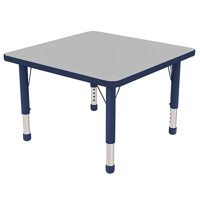 ECR4Kids Thermo-Fused Adjustable 30 Square Laminate Activity Table Grey/Navy (ELR-14216-GYNVNVCH)