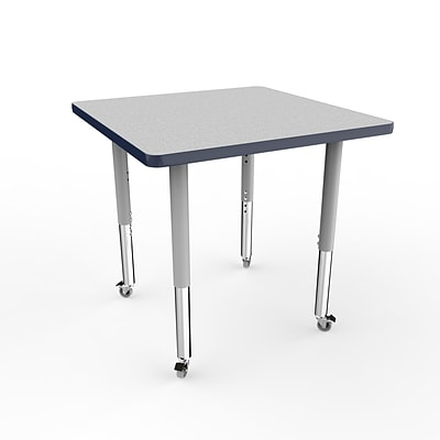 ECR4Kids T-Mold Adjustable Leg 30 Square Laminate Activity Table Grey/Navy/Silver (ELR-14116-GNVSV-SL)