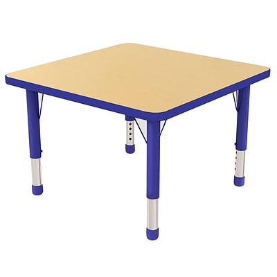 ECR4Kids Thermo-Fused Adjustable 30 Square Laminate Activity Table Maple/Blue (ELR-14216-MPBLBLCH)