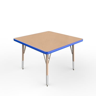 ECR4Kids T-Mold Adjustable Swivel 30 Square Laminate Activity Table Maple/Blue/Sand (ELR-14116-MBLSD-TS)