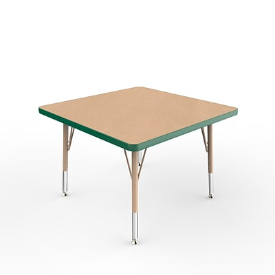 ECR4Kids T-Mold Adjustable Swivel 30 Square Laminate Activity Table Maple/Green/Sand (ELR-14116-MGNSD-TS)