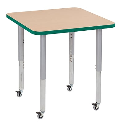 ECR4Kids T-Mold Adjustable Leg 30 Square Laminate Activity Table Maple/Green/Silver (ELR-14116-MGNSV-SL)