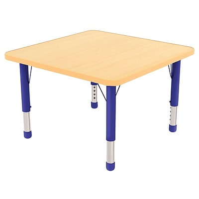 ECR4Kids Thermo-Fused Adjustable 30 Square Laminate Activity Table Maple/Maple/Blue (ELR-14216-MPMPBLCH)
