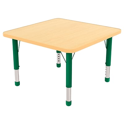 ECR4Kids Thermo-Fused Adjustable 30 Square Laminate Activity Table Maple/Maple/Green (ELR-14216-MPMPGNCH)
