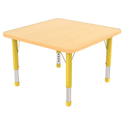 ECR4Kids Thermo-Fused Adjustable 30 Square Laminate Activity Table Maple/Maple/Yellow (ELR-14216-MPMPYECH)