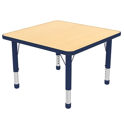ECR4Kids Thermo-Fused Adjustable 30 Square Laminate Activity Table Maple/Navy (ELR-14216-MPNVNVCH)