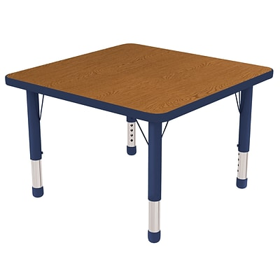 ECR4Kids Thermo-Fused Adjustable 30 Square Laminate Activity Table Oak/Navy (ELR-14216-OKNVNVCH)