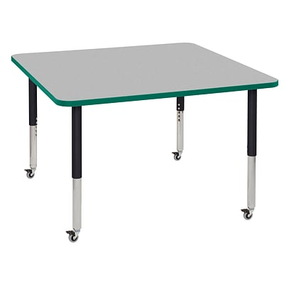 ECR4Kids T-Mold Adjustable Leg 48 Square Laminate Activity Table Grey/Green/Black (ELR-14117-GGNBK-SL)