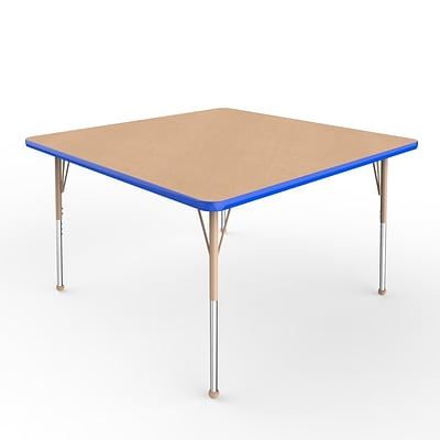 ECR4Kids T-Mold Adjustable Ball 48 Square Laminate Activity Table Maple/Blue/Sand (ELR-14117-MBLSD-SB)