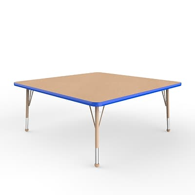 ECR4Kids T-Mold Adjustable Ball 48 Square Laminate Activity Table Maple/Blue/Sand (ELR-14117-MBLSD-TB)