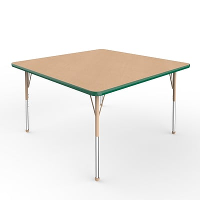ECR4Kids T-Mold Adjustable Ball 48 Square Laminate Activity Table Maple/Green/Sand (ELR-14117-MGNSD-SB)