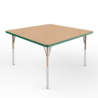 ECR4Kids T-Mold Adjustable Swivel 48 Square Laminate Activity Table Maple/Green/Sand (ELR-14117-MGNSD-SS)