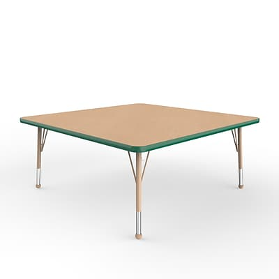 ECR4Kids T-Mold Adjustable Ball 48 Square Laminate Activity Table Maple/Green/Sand (ELR-14117-MGNSD-TB)
