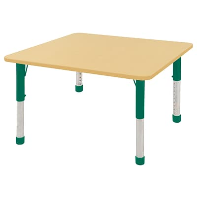 ECR4Kids Thermo-Fused Adjustable 48 Square Laminate Activity Table Maple/Maple/Green (ELR-14217-MPMPGNCH)