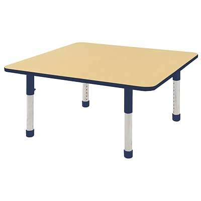ECR4Kids Thermo-Fused Adjustable 48 Square Laminate Activity Table Maple/Navy (ELR-14217-MPNVNVCH)