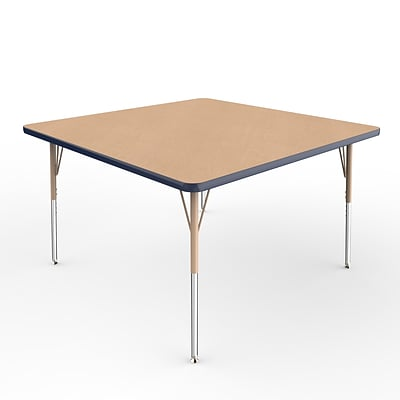 ECR4Kids T-Mold Adjustable Swivel 48 Square Laminate Activity Table Maple/Navy/Sand (ELR-14117-MNVSD-SS)