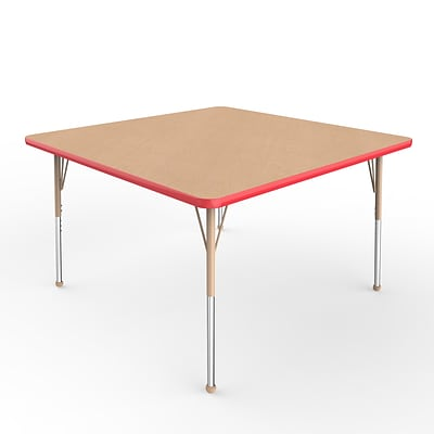 ECR4Kids T-Mold Adjustable Ball 48 Square Laminate Activity Table Maple/Red/Sand (ELR-14117-MRDSD-SB)