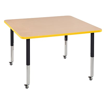 ECR4Kids Thermo-Fused Adjustable Leg 48 Square Laminate Activity Table Maple/Yellow/Black (ELR-14217-MPYEBKSL)