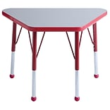 ECR4Kids Thermo-Fused Adjustable Ball 30 x 18 Trapezoid Laminate Activity Table Grey/Red (ELR-1421