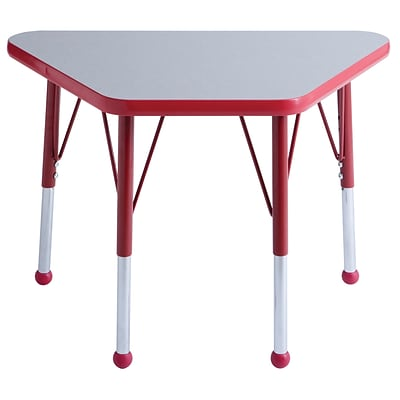 ECR4Kids Thermo-Fused Adjustable Ball 30 x 18 Trapezoid Laminate Activity Table Grey/Red (ELR-14218-GYRDRDTB)