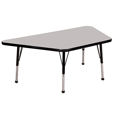 ECR4Kids Thermo-Fused Adjustable Ball 60 x 30 Trapezoid Laminate Activity Table Grey/Black (ELR-14219-GYBKBKTB)