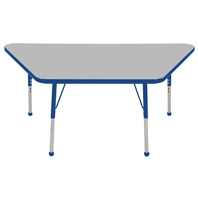 ECR4Kids Thermo-Fused Adjustable Ball 60 x 30 Trapezoid Laminate Activity Table Grey/Blue (ELR-14219-GYBLBLSB)