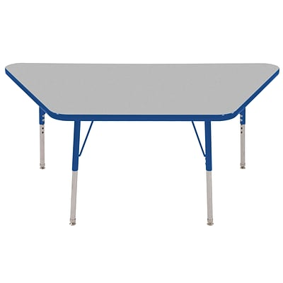 ECR4Kids Thermo-Fused Adjustable Swivel 60 x 30 Trapezoid Laminate Activity Table Grey/Blue (ELR-14219-GYBLBLSS)